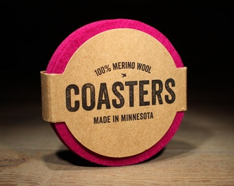 Merino Wool Coasters - 100% Wool Felt - Round - 5mm Thick German-milled Felt - Rich, Lightfast Colors - Natural and Renewable - Fuchsia Pink
