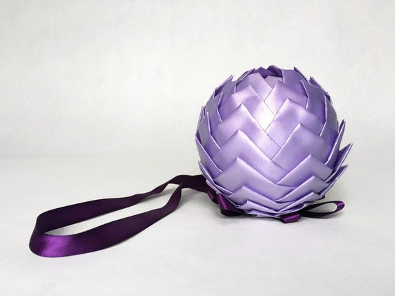 Purple Ribbon Pinecone Ornament