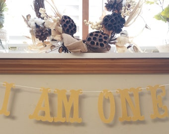 I am One  Gold Banner // High Chair // Boy // Girl // Birthday Party Decorations // First Birthday // High Chair //  5 inches