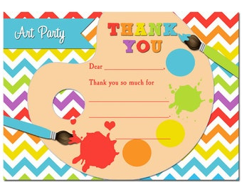 Painting Party Thank You Notes Printable -  Instant Download - Rainbow Paint Collection