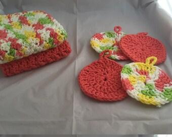 Crochet cotton spa set.