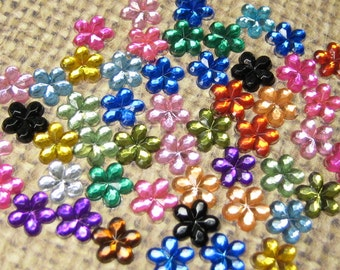 Rhinestones flowers flat back 6mm gems assorted acrylic crystals 50 pc kawaii nail art deco cell phone decoden flatbacked scrapbook accent