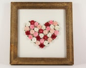 Paper Quilled Heart of Flowers, Red Pink White Wall Art, 3D Quilling in Hand Made Wood Frame, Gardener Gift, Delicate Rustic Country Art