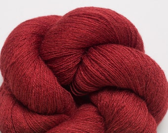 Garnet Red Silk Cashmere Lace Weight Recycled Yarn, 2810 Yards Available