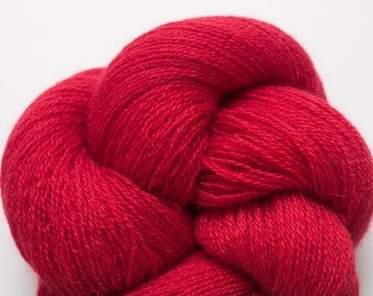 Lace Weight Recycled Cashmere Yarn, Cherry Red Cashmere  Lace Weight Recycled Yarn, 2222 Yards Available