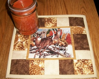 Quilted Candle Mat Mug Rug Coaster Deer Lodge Rustic Cabin Decor Brown Gold Mini Quilt