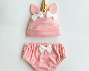 Pink Unicorn Baby Hat & Bloomers Set ON SALE