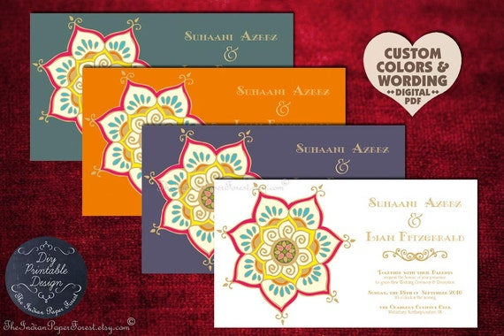 Items similar to printable indian wedding invitation lotus for Free printable hindu wedding invitations