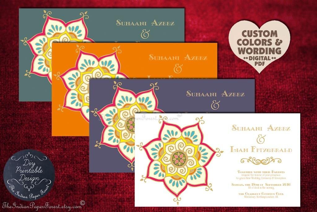 Modern Indian Wedding Invitations Uk: Printable Indian Wedding Invitation LOTUS FLOWER Engagement