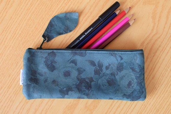 Leather pencil case,leather pencilcase,leather pouch,flowers pencil case,black pencil case,leather case,leather coin purse,flowers leather