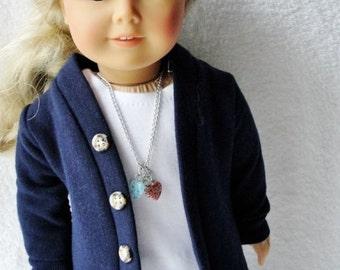 "Cardigan for 18"" Dolls - Handmade Navy Blue Doll Sweater"