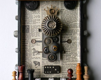 Box Art Assemblage - Buttons & Beads - Found Object Art - Wall Decor - Jen Hardwick