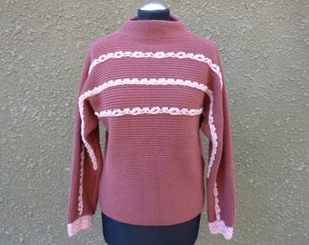 Pink sweater Upcycled sweater Ribbon knit sweater High collar sweater Thick sweater Embellished sweater Unique sweater Ecofriendly sweater