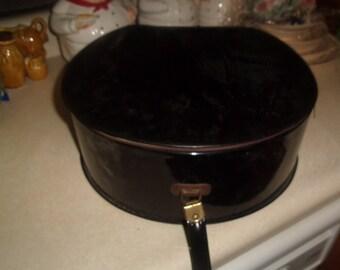 vintage black vinyl ladies hat box carrier luggage with handle