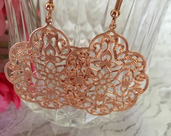 Rose Gold Earrings-Large Filigree Rose Gold Dangle Earrings-Wedding-Special Occasion