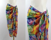 Vintage 90s - Bright Multu Color - Photo Floral Rose- Worhol Style - Sheer - Bathing Suit Sarong Wrap Skirt - Pop Art