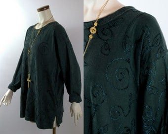 Vintage 90s -Dark Green Ethnic Embroidered Design - Long Tunic Blouse Top Shirt - New Age - Hippie - Boho