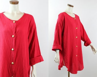Vintage 80s 90s - Red Crinkle - Long Button Up Tunic Shirt Blouse - Gold Shell Buttons