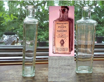 Antique Pharmacy Clear Glass Medicinal Bottle