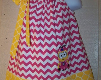 Girl Minion Pillowcase Dress with 2 Eyes, Despicable Me Dress, Minion Inspired, Minions Movie, Pink and White Chevron, Size 6m to 14