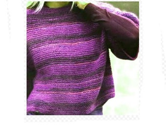 Short Sleeves Pullover Garter Stitch Knitting PDF Pattern Instant Download Is not a finished product. It is a PDF Pattern