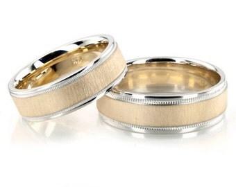 Gold Mens Brushed Wedding Ring Set, Yellow Gold His Hers Wedding Bands Matching Wedding Rings Brushed Wedding Ring Set 14K Gold