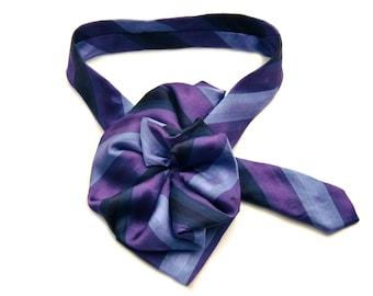 Ladies scarf, Kenneth Cole Ladies purple Silk Necktie Scarf, Upcycled Necktie Necklace Silk Collar, Womans Ascot Scarf, ecofashion accessory