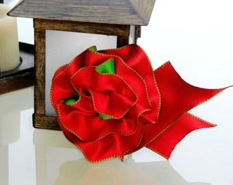Holiday Ribbon Corsage Pin, Red & Green Hair Accessory, Ribbon Hairbow, Handmade Accessory Bow, Christmas Ribbon Corsage or hair barrette