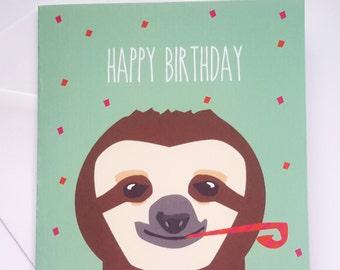 Sloth Birthday Card - Happy Birthday Sloth Card