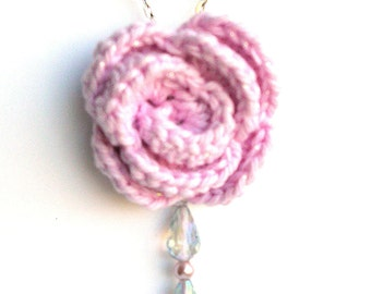 Crochet Flower Necklace - Rose Pendant Necklace - Handmade Pink Rose Fiber Necklace - Boho Rose Necklace