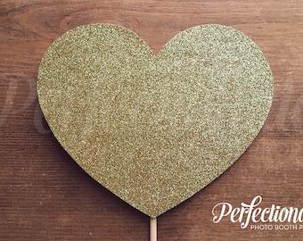 Gold Glitter Heart Prop | Engagement Centerpiece | Bachelorette Prop