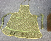 Green Paisley Yellow Trimmed Vintage Apron