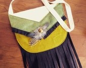 SALE! Indian Satchel // Native American Purse // felt, fringe, & feathers