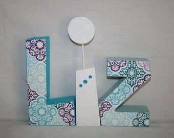 teen room decor 3 letter set damask decor teen girl room decor - Letter Decor