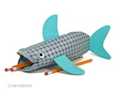 Shark Bag by MinneBites / Handmade Shark Pencil Case - Turquoise Silver Desk Accessory - Kids School Bag - Nautical Purse - Ready to Ship