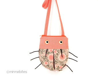 Bug Purse by MinneBites / Handmade Toddler Girls Purse - Cute Cross Body Purse - Coral Lady Bug Birthday - Small Pink Purse - Ready to Ship