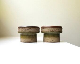 Rare Modernist Denby Potters Wheel Candle Holders Pair Ikebana Green Center David Yorath England