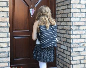 Polka Dots Minimalist Laptop Backpack, Vegan City backpack, Minimalist Laptop carrier, Convertible bag, gift for mom, birthday present