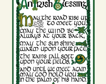 Irish Blessing  with ancient Celtic hand lettering and design,matted, FREE US SHIPPING, by artist/calligrapher Jacqueline Shuler