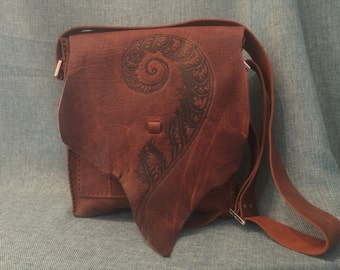 Fiddle Head Fern/ Sacred Geometry Satchel Bag / Purse