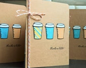 Thanks a Latte Thank You Cards Set of 3, Coffee Thank You Cards, Summer Thank You Note Cards