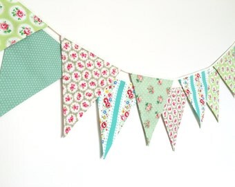 Spring Time Bunting, Fabric Banners, Wedding Bunting, Floral, Green Shade - 3 yards