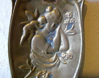 Antique Brass Art Nouveau Dish Vintage 1910s Boudoir Tray with Lady and Cherub