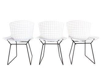 Set of 3 White Herman Miller Bertoia Chairs