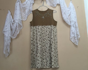 Upcycled Clothing Romantic Tank dress, Shabby Chic Dress, Upcycled bohemian Dress, Tiny Floral Print Vintage Skirt