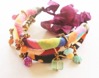 Gypsy bracelet, boho chic bracelt, fabric bracelet, textile bracelet, cord bracelet, fabric jewelry, bohemian jewelry, textile jewelry