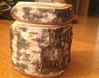 Natural bark birch turned box with lid