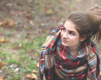 All About Plaid Blanket Scarf/Wrap Fall Fashion