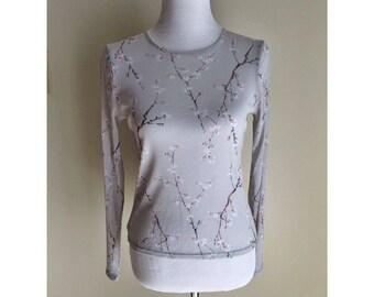 Gray Mesh Long Sleeve Cherry Blossom Shirt