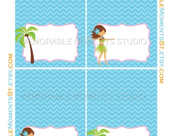 INSTANT DOWNLOAD - Printable Food Tents - Luau or Tropical Pool Party - Memorable Moments Studio